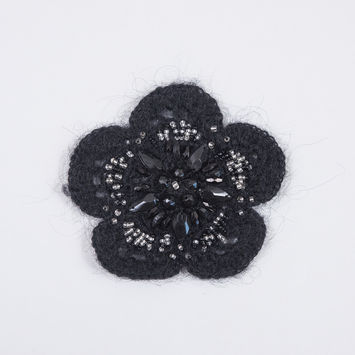 "Black Knit Beaded Flower Brooch 4""-320050-10"