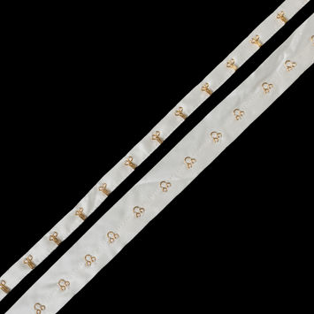 Ivory Silk Charmeuse Tape with Gold Hook & Eyes - 1