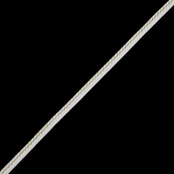 """Metallic Gold and White Cord with White Lip 0.5""""-320117-10"""