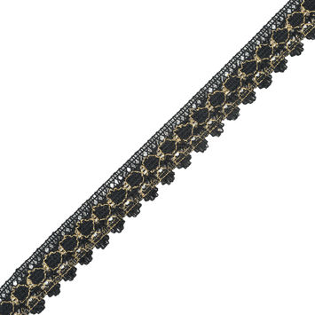 Black and Metallic Gold Crochet Trim - 1.25