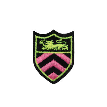 """Neon Pink and Green Shield Patch 2.5"""" x 2""""-320970-10"""
