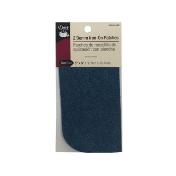 """2 Faded Denim Blue Iron-On Patches 5"""" x 5""""-321235-10"""