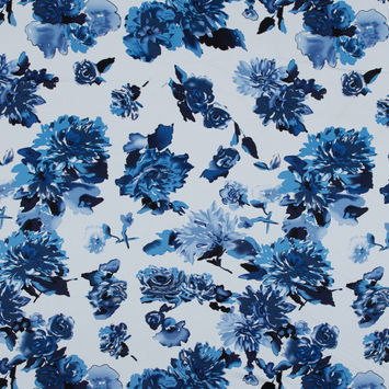 Blue and White Floral Stretch Cotton Sateen