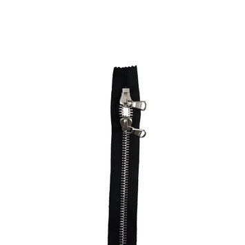 "Lampo 2 Way Black and Silver Closed Ended Metal Zipper 31""-321536-10"