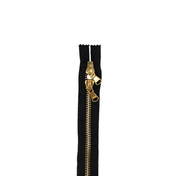 "Lampo 2 Way Black and Gold Closed Ended Metal Zipper 31""-321541-10"
