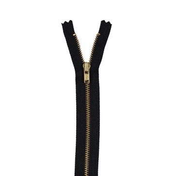 Black and Gold YKK Metal Closed Bottom Zipper - 8