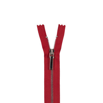 "Red and Silver 3M Metal Zipper 5""-321550-10"