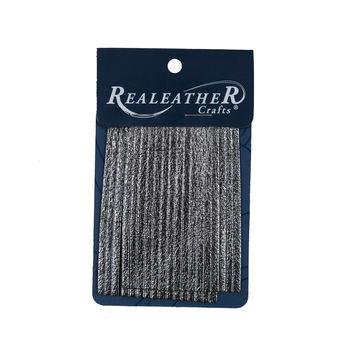 Realeather Metallic Gunmetal Deerskin Fringe Trim-321570-10