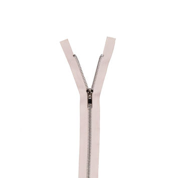 Champagne Pink and Silver Metal Two-Way Zipper - 36