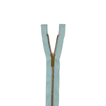 "Mint and Gold Metal 1-Way Separating Zipper 48""-322185-10"