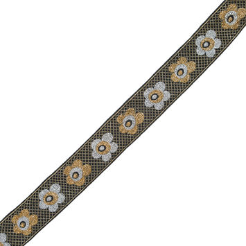 "Gold and Silver Metallic Floral Jacquard Ribbon 1.25""-322807-10"