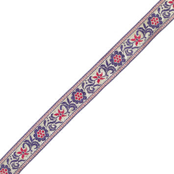 "Metallic Gold and Purple Floral Jacquard Ribbon 1.5""-322809-10"