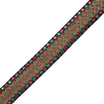 "Red, Green and Metallic Gold Mirror Trim 1.5""-322870-10"