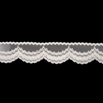 """Ivory Mesh Trim with Scalloped Edge 2.25""""-323046-10"""
