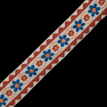 "Beige, Copper and Blue Floral Jacquard Ribbon 2""-323064-10"