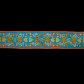 "Blue, Orange and Mustard Hearts Jacquard Ribbon 2.25""-323065-10"