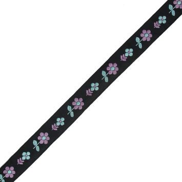 "Black, Blue and Purple Floral Jacquard Ribbon 0.875""-323073-10"