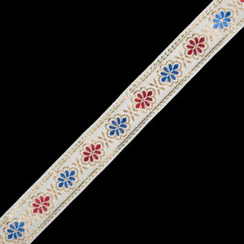 "Metallic Gold, Blue and Red Floral Jacquard Ribbon 1.25""-323267-10"