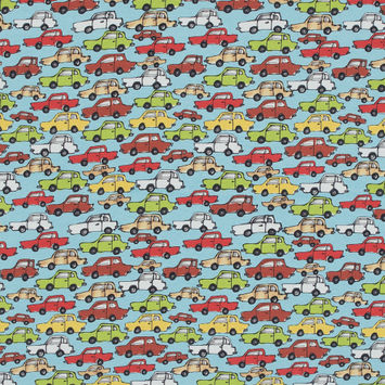 Blue Cars in Traffic Cotton Jersey-323363-10