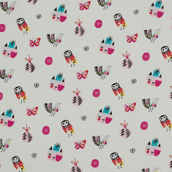 Ivory Birds, Cats and Butterflies Cotton Jersey-323376-10