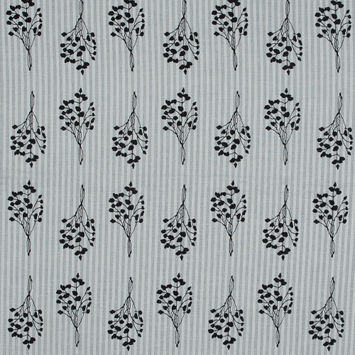 Black and White Foliage Printed Striped Cotton Voile-323414-10