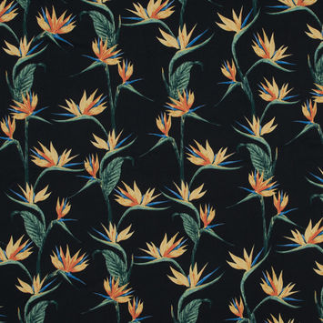 Orange Bird of Paradise Floral Cotton Twill-323450-10