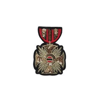 """Italian Small Red Metallic Gold Shield Pin 3.25"""" x 1.5""""-323646-10"""