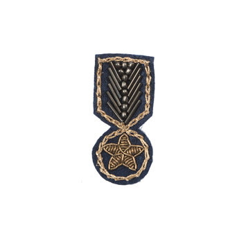 """Italian Navy and Gold Embroidered and Beaded Iron-on Military Patch 2"""" x 1""""-323650-10"""