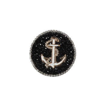 """Italian Gold Anchor Patch with Black and Silver Rhinestones 2.25""""-323653-10"""