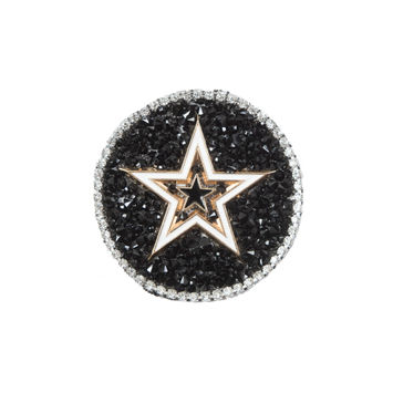 """Italian Gold Star Patch with Black and Silver Rhinestones 2.25""""-323654-10"""