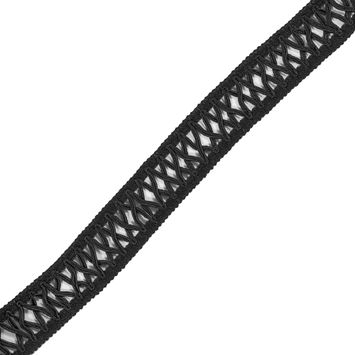 "Black Crochet and Criss Cross Trim 1.5""-323710-10"