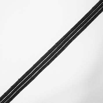 "Black Striped Venise Lace Trim 1""-323778-10"