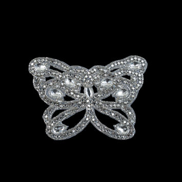 "Silver Rhinestone Butterfly Sew-On Applique 4"" x 6""-323860-10"