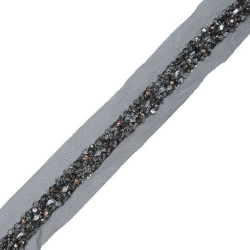 "Italian Black Mesh with Silver Sequins and Stones 1""-323890-10"