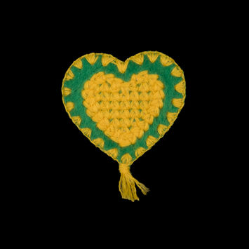 """Yellow and Green Heart Iron-on Patches 2.5"""" x 2""""-323892-10"""