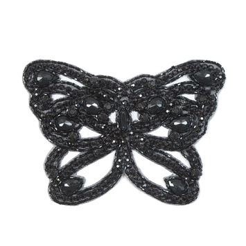 "Black Rhinestone Butterfly Sew-On Applique 4"" x 6""-323897-10"