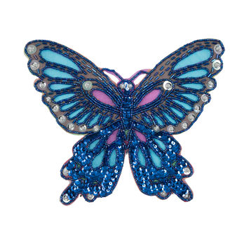 "Cobalt Sequin Butterfly Sew-On Applique 6.5"" x 8""-323902-10"