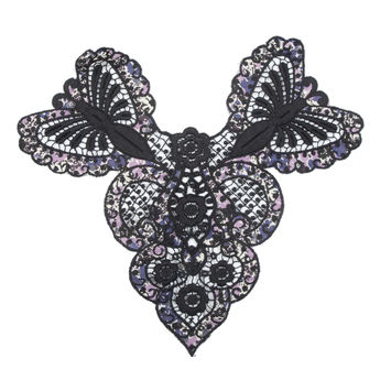 "Black and Purple Floral Printed Embroidered Applique 10"" x 9.75""-323905-10"