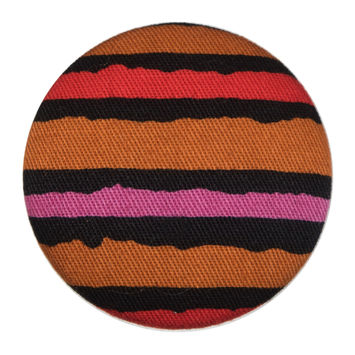 Black, Orange and Pink Striped Fabric Covered Button 55L/35mm-323911-10
