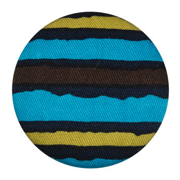 Black, Blue and Green Striped Fabric Covered Button 55L/35mm-323912-10