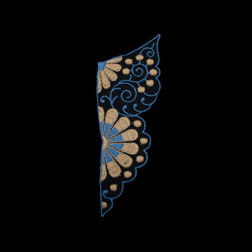 "Black, Blue and Beige Embroidered Right Applique 8"" x 3""-323916-10"