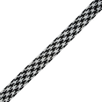 """Black and White Houndstooth Flat Braided Trim 1.25""""-323943-10"""