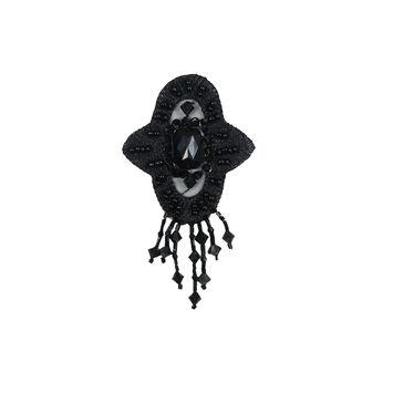 """Black Beaded Sew-On Applique 4"""" x 2.25""""-323960-10"""