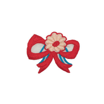 "Red Flower Bow Applique 3.5"" x 3""-323961-10"