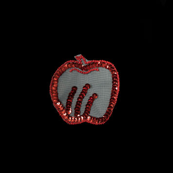 "Red Sequined and Beaded Apple Applique 3"" x 3""-323963-10"