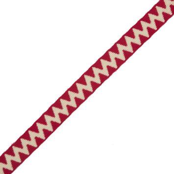 "Italian Beige and Red Zig-Zag Fabric Trim 1""-324139-10"