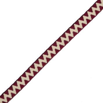 "Italian Beige and Dark Red Zig-Zag Fabric Trim 1""-324141-10"