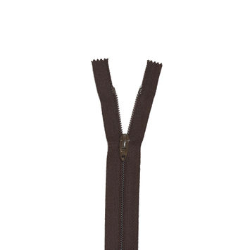 "Brown Regular Zipper with Nylon Coil 6""-324383-10"