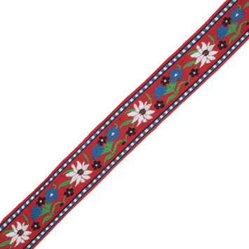 "Red, Blue and Green Floral Jacquard Ribbon 1.625""-324409-10"