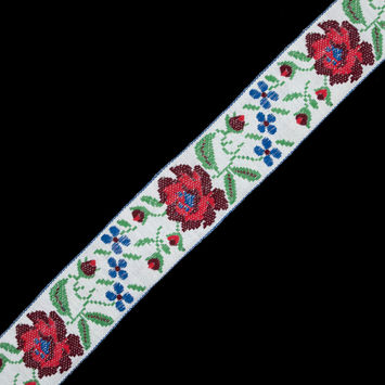 "Red, Blue and Green Floral Jacquard Ribbon 2.25""-324410-10"